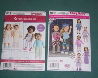 Simplicity 8281 or Simplicity 1087..American Girl Doll Clothing Patterns...18 Inch Doll Patterns..New Uncut Pattern..