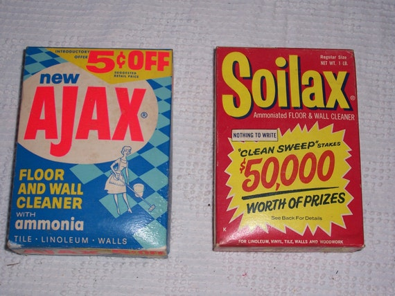 Vintage boxes of soilax and ajax 1960 39 s soap cleaning for Soil x cleaner