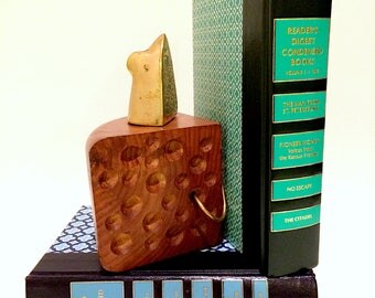 Brass Mouse and Cheese Wood Bookend