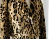 Vintage 1980's Leopard Cheetah Faux Fur Cropped Jacket Coat  Women's  Size LARGE Excellent Condition