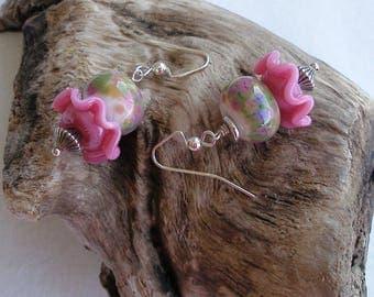Monet's Bouquet--Bubble Gum Pink Ruffles and Pastel Lampwork Earrings  689