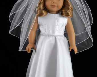 American Girl 18 Inch Embroidered Mesh/Rhinestone First Communion, Flower Girl, Wedding Gown