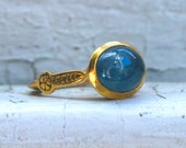 Beautiful Engraved Vintage 14K Yellow Gold Aquamarine Ring by the Metropolitan Museum of Art.