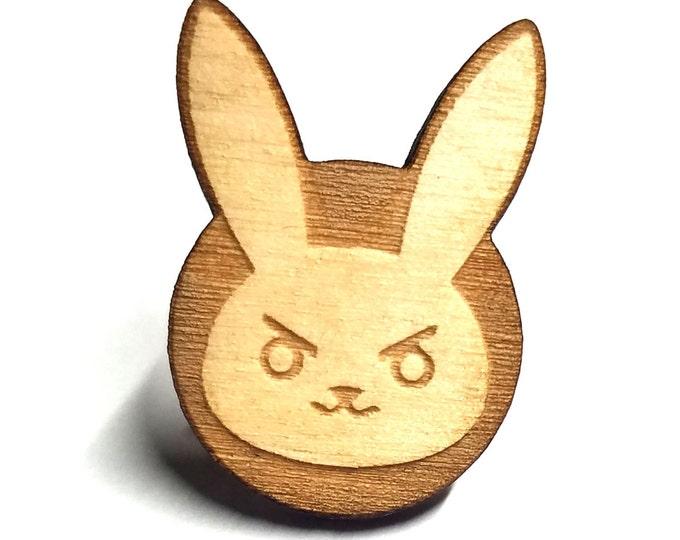 Overwatch D.va Bunny Pin | Laser Cut Jewelry | Wood Accessories