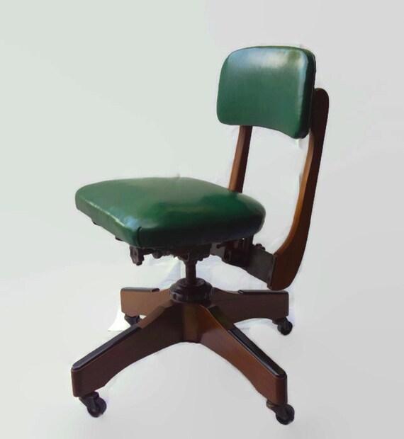 mid century wood office chair gunlocke tanker swivel chair