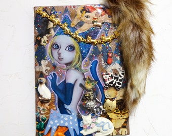 "Original Small Mixed Media Painting ""Cat Lover"" Girl Assemblage"