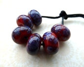 handmade lampwork glass beads red and purple frit set, UK