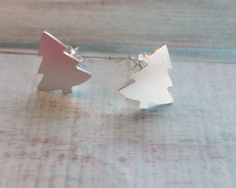 Christmas Tree Studs.  Silver Christmas  Trees. Novelty Earrings. Spruce Tree. Minimalist. Simple. Modern. Gift For Her. Christmas Gift