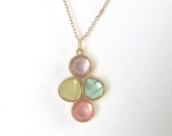 Multicolored Stone Gold Pendant. Statement Piece. Purple. Green. Blue. Pink. Gold Framed. Stone Charm. Gift for her. Bridal. Mother's Day