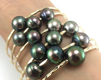 SPECIAL Tahitian Pearl Bangle 14kt Gold Filled 12 Gauge