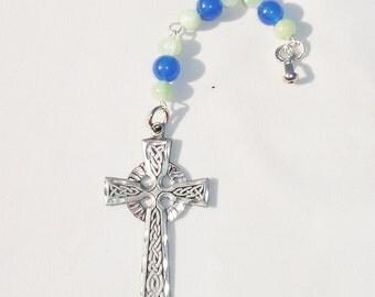 Handmade Celtic Cross Gemstone Fan or Light Pull for Ceiling Fan or Chain Pull for Lamp