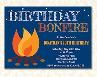 Bonfire Birthday Invitation, Printable Backyard Campfire Invites, Camp Out, Camping Party, Camp Birthday, S'mores Party, Digital Download