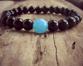 Black Onyx Bracelet • Blue Jade • Chakra Bracelet • Throat Chakra • Healing Bracelet • Stacking Bracelet • Mala