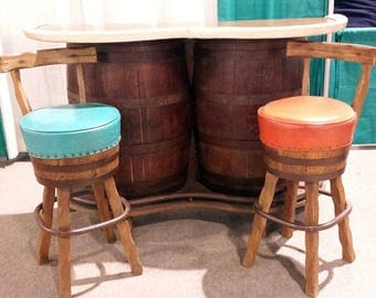 Whiskey Barrel Bar, Rustic Western Swivel Bar Stools, Wooden Barrel Bar,  Country Saloon