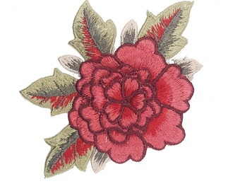 3D Red Rose Bloom Badge, Flower Patch Applique Motif, Sew On Rose Patch 1 pcs