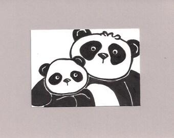 ACEO, Panda,  ATC, Art Trading Card, Original Drawing, Ink, Kid Friendly