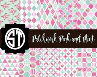 Patchwork Pink and Mint Patterns Vinyl (Indoor, Outdoor,  Glitter Vinyl, HTV iron on, Glitter Heat Transfer) Lamination available