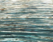 """Clear Waves. Large Water Canvas Art Print 22 x 55"""", Seascape Blue Gold Blur Water Photography Print by Irena Orlov"""