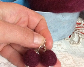 Felt Jewelry Felt Earrings Ecofriendly Earrings Burgundy Felted Earrings