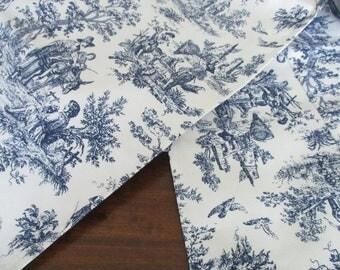 Toile tablerunner, custom blue and white toile table runner, cotton Waverley fabric, blue and white runner, table decor, cottage decor
