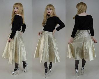 80s Does 50s Gold Sparkle High Waist A Line Flared Midi Skirt S / M