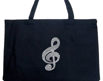 Large Tote Bag - Created Using a List of the Most Popular Classical Music Composers of All Time Music Note