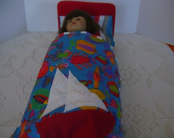 "18"" doll bed cover with matching Pillow"