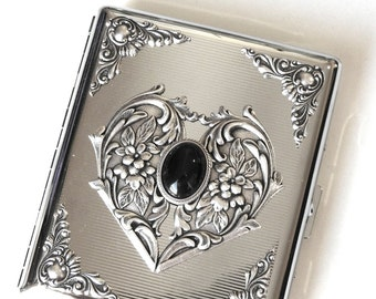 Victorian Cigarette Case Silver Cigarette Case for Woman Black Onyx Cigarette Case 100's Vintage Style Case Cigarette Holder  Romantic Gift
