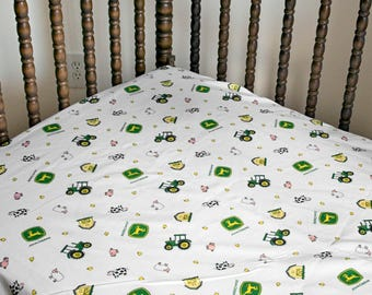 John Deere Tractor Crib Sheet with Farm Animals (Other styles available too--pink)