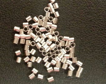 2 x 2 mm Sterling Silver Crimp Beads 50 pieces