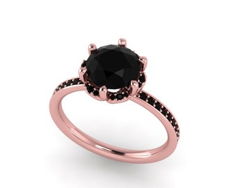 Black diamond engagement ring,custom rings ,black diamond rose gold ring,custom design rings,style 159RGBL