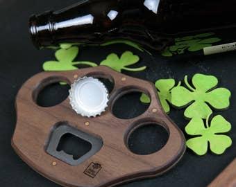 personalized rustic wooden bottle opener beer cap catcher cast. Black Bedroom Furniture Sets. Home Design Ideas