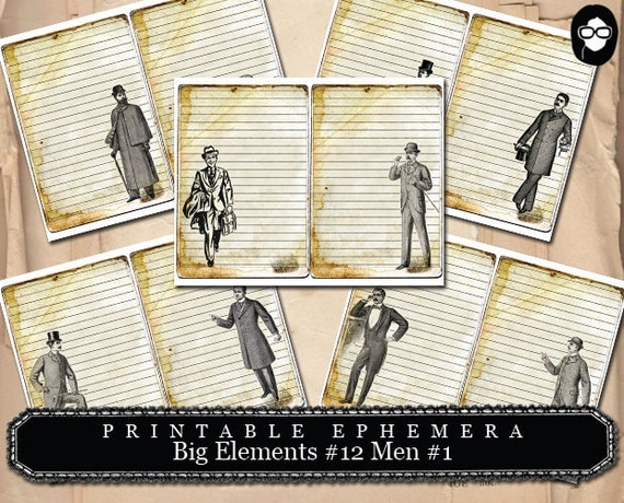 Masculine Art Prints - Big Elements #12 Vintage Men #1 - 5 Page Instant Download- digital collage, blank journal cards, digital journal kits