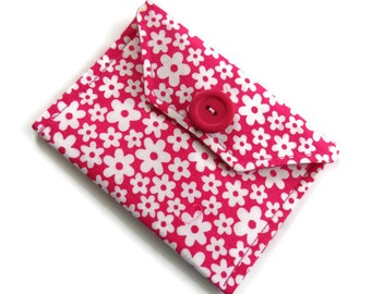 Pink Fabric Gift Card Wallet - Fabric Case for Cards - Business Card Wallet - Gift Wallet for Jewelery - Gift Bag - Jewelry Gift Bag