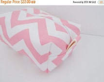 HALLOWEEN SPECIAL SALE Pink Chevron Makeup Bag  - Cosmetic Pouch -  Lunch Bag - Wet Bag -Waterproof Bag
