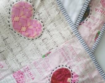 HUGE QUILT SALE Wall Hanging - Baby Playmat - Anna Maria Horner Quilt - Heart Quilt