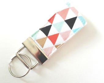 Mini Triangle Key Fob  - Fabric Wristilet - Cotton amd Steele Fabric
