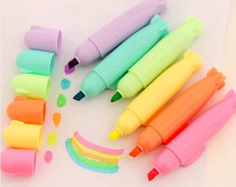 Set of 6 Assorted Candy Color Highlighter Pens