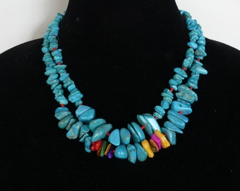 18 Inch Double Strand Southwestern Turquoise and Mother of Pearl Necklace with Earrings