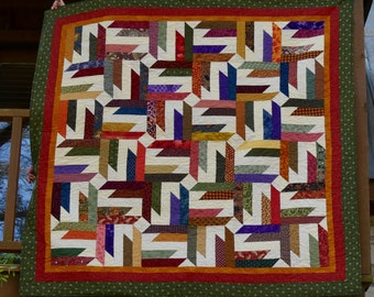 Hand Made Star Quilt with Fall Colors 73 by 73 Inches