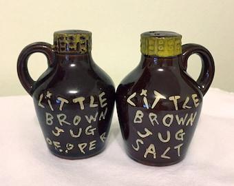 Vintage 'Little Brown Jug' Salt and Pepper Shakers - Made in Japan