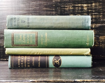 Green Vintage Books, Book Collection, Book Bundle, Photography Props, Shades of Green Books ,Instant library