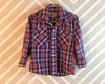 vintage plaid rockabilly western wear top for boy by rockmount ranch wear denver colorado size 3-4 years