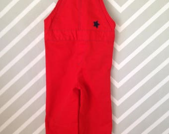 vintage bright red crisp overalls by buster brown size 18-24 months / 1-2 years