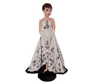 Audrey Hepburn Sabrina Hand Painted 2D Art Figurine