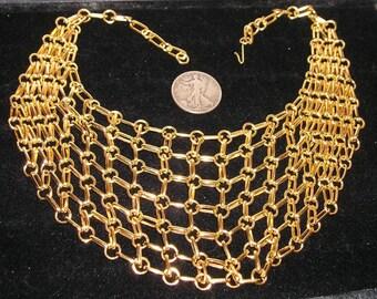 Vintage 1970s Gold Tone Bib Necklace Cleopatra style