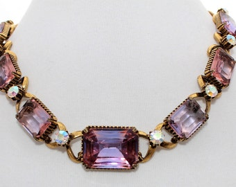 Vintage 1960's Florenza Demi Parure Heavy Open Back Gold Rhinestone AB Choker Necklace Earrings Clip On Signed