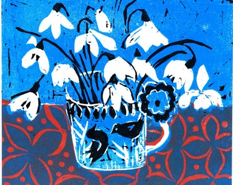 Linocut handprinted by jenny devereux 'Snowdrops' edition of 75