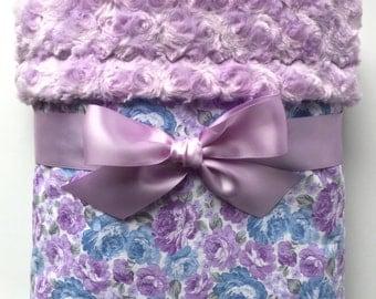 Lavender Baby Blanket - Baby Girl Blanket - Floral Minky Blanket - Purple Baby Bedding -  Crib Bedding - Baby Gifts - Lavender Nursery