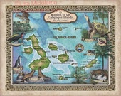 209 Galapagos Islands vintage historic antique map poster print by Lisa Middleton